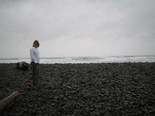 john on a beach on the oregon coast